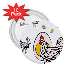 Roseanne Chicken, Retro Chickens 2 25  Buttons (10 Pack)  by EvgeniaEsenina