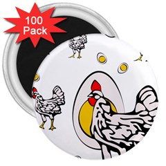 Roseanne Chicken, Retro Chickens 3  Magnets (100 Pack) by EvgeniaEsenina