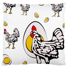 Roseanne Chicken, Retro Chickens Large Cushion Case (two Sides) by EvgeniaEsenina