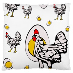 Roseanne Chicken, Retro Chickens Large Flano Cushion Case (two Sides) by EvgeniaEsenina