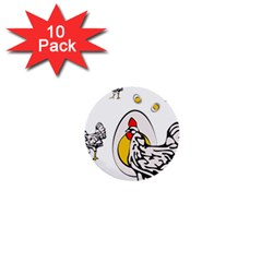 Roseanne Chicken, Retro Chickens 1  Mini Buttons (10 Pack)  by EvgeniaEsenina