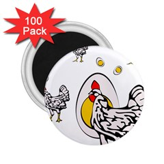 Roseanne Chicken, Retro Chickens 2 25  Magnets (100 Pack)  by EvgeniaEsenina