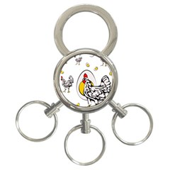 Roseanne Chicken, Retro Chickens 3-ring Key Chain by EvgeniaEsenina
