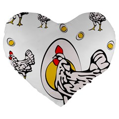 Roseanne Chicken, Retro Chickens Large 19  Premium Flano Heart Shape Cushions by EvgeniaEsenina