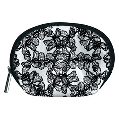 Stylized Botanical Motif Black And White Print Accessory Pouch (medium)
