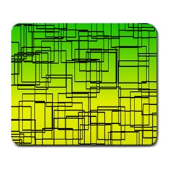 Geometrical Lines Pattern, Asymmetric Blocks Theme, Line Art Large Mousepads