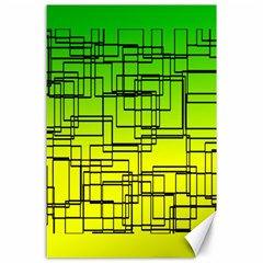Geometrical Lines Pattern, Asymmetric Blocks Theme, Line Art Canvas 24  X 36  by Casemiro