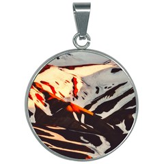 Iceland Landscape Mountains Snow 30mm Round Necklace by Bejoart