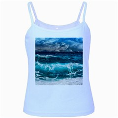 Ocean-waves-under-cloudy-sky-during-daytime Baby Blue Spaghetti Tank