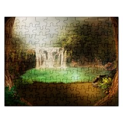 Background-image-waterfall-jungle Rectangular Jigsaw Puzzl by Bejoart