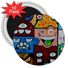 Photography Multicolored Monster Painting 3  Magnets (10 Pack)