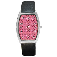60s Ombre Hair Girl Pink Barrel Style Metal Watch