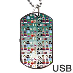 Kawaii Collage Teal  Ombre Dog Tag Usb Flash (two Sides)