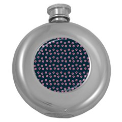 Peach Purple Daisy Flower Teal Round Hip Flask (5 Oz) by snowwhitegirl