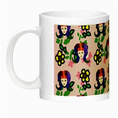 60s Girl Pink Floral Daisy Night Luminous Mugs by snowwhitegirl