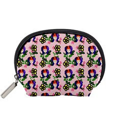 60s Girl Pink Floral Daisy Accessory Pouch (small) by snowwhitegirl