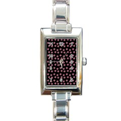 Peach Purple Daisy Flower Black Rectangle Italian Charm Watch