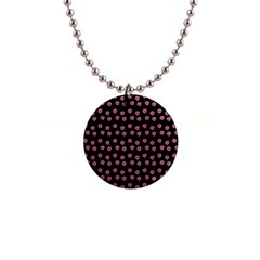 Peach Purple Daisy Flower Black 1  Button Necklace