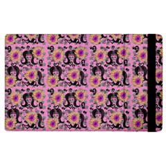 60s Girl Floral Pink Apple Ipad 3/4 Flip Case