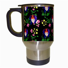 60s Girl Floral Daisy Black Travel Mugs (white) by snowwhitegirl