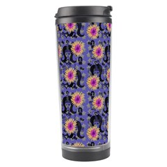 60s Girl Floral Blue Travel Tumbler by snowwhitegirl