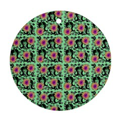 60s Girl Floral Green Ornament (round) by snowwhitegirl