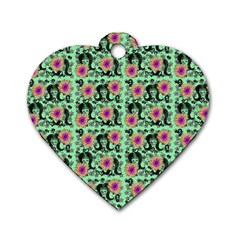 60s Girl Floral Green Dog Tag Heart (one Side)