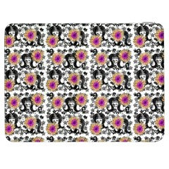 60s Girl Floral White Samsung Galaxy Tab 7  P1000 Flip Case