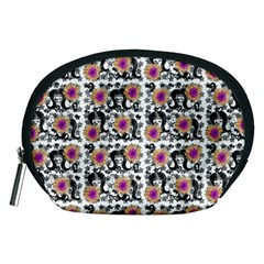 60s Girl Floral White Accessory Pouch (medium) by snowwhitegirl