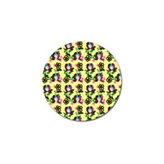 60s Girl Yellow Floral Daisy Golf Ball Marker (10 Pack) by snowwhitegirl