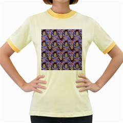 Braids Doll Daisies Purple Women s Fitted Ringer T-shirt by snowwhitegirl