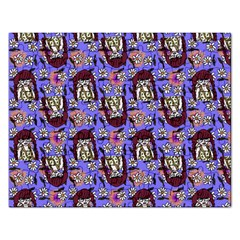 Braids Doll Daisies Purple Rectangular Jigsaw Puzzl by snowwhitegirl