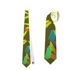 Colorful Brush Strokes Painting On A Green Background                                                    Necktie by LalyLauraFLM