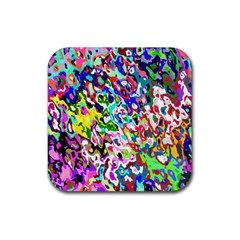 Colorful Paint Texture                                                    Rubber Square Coaster (4 Pack