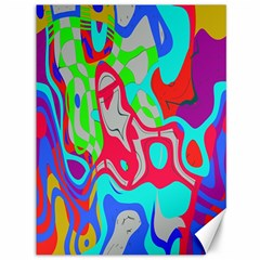 Colorful Distorted Shapes On A Grey Background                                                     Canvas 36  X 48  by LalyLauraFLM