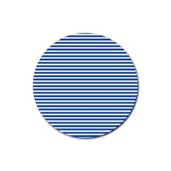 Classic Marine Stripes Pattern, Retro Stylised Striped Theme Rubber Round Coaster (4 Pack)  by Casemiro