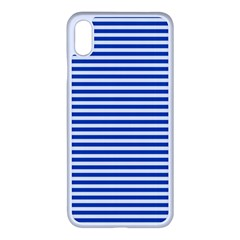 Classic Marine Stripes Pattern, Retro Stylised Striped Theme Iphone Xs Max Seamless Case (white) by Casemiro