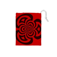 Spiral Abstraction Red, Abstract Curves Pattern, Mandala Style Drawstring Pouch (small) by Casemiro