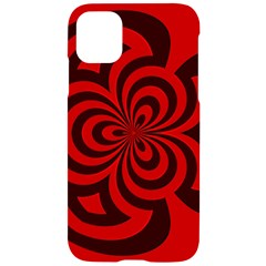 Spiral Abstraction Red, Abstract Curves Pattern, Mandala Style Iphone 11 Black Uv Print Case by Casemiro