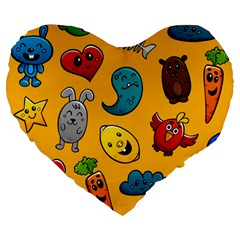 Graffiti Characters Seamless Ornament Large 19  Premium Flano Heart Shape Cushions by Amaryn4rt