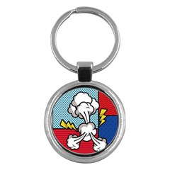 Rays Smoke Pop Art Style Vector Illustration Key Chain (round)