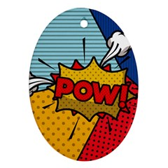 Pow Word Pop Art Style Expression Vector Ornament (oval)
