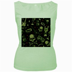 Grunge Seamless Pattern With Skulls Women s Green Tank Top by Amaryn4rt