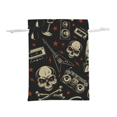 Grunge Seamless Pattern With Skulls Lightweight Drawstring Pouch (l)
