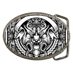 Tiger Illustration Vintage Border Frame Engraving With Retro Ornament Pattern Antique Rococo Style Belt Buckles by Amaryn4rt