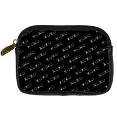 Xoxo Black And White Pattern, Kisses And Love Geometric Theme Digital Camera Leather Case by Casemiro