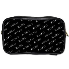 Xoxo Black And White Pattern, Kisses And Love Geometric Theme Toiletries Bag (one Side)