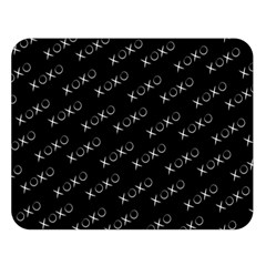 Xoxo Black And White Pattern, Kisses And Love Geometric Theme Double Sided Flano Blanket (large)  by Casemiro