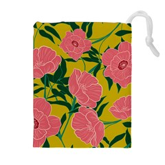 Pink Flower Seamless Pattern Drawstring Pouch (xl)