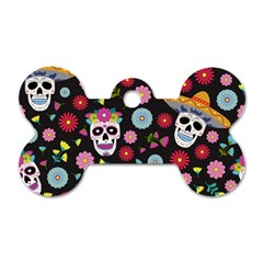 Day Dead Skull With Floral Ornament Flower Seamless Pattern Dog Tag Bone (one Side)